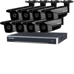 5MP 120dB WDR Hikvision 16 Channel IP CCTV System with 8 x 50m EXIR 5MP Bullet Cameras in Black