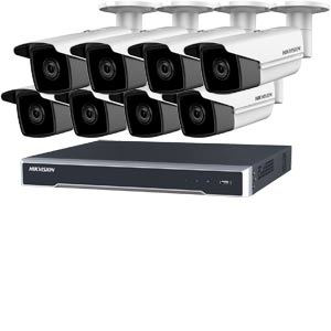 5MP 120dB WDR Hikvision 16 Channel IP CCTV System with 8 x 50m EXIR 5MP Bullet Cameras
