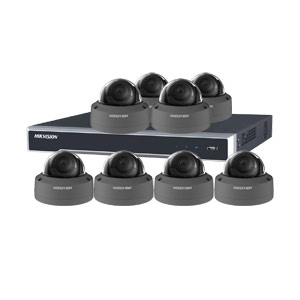 8MP 120dB WDR Hikvision 16 Channel IP CCTV System with 8 x 30m 4K Vandal Dome Cameras (EasyIP 3.0/ Grey)