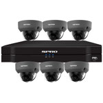SPRO 8ch 6MP IP CCTV Kit with 6x Fixed Lens POE Vandal Resistant Grey Dome Camera