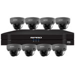 SPRO 8ch 6MP IP CCTV Kit with 8x Fixed Lens POE Vandal Resistant Grey Dome Camera
