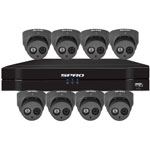 SPRO 8ch 6MP IP CCTV Kit with 8x Fixed Lens Turret Grey Camera with Microphone